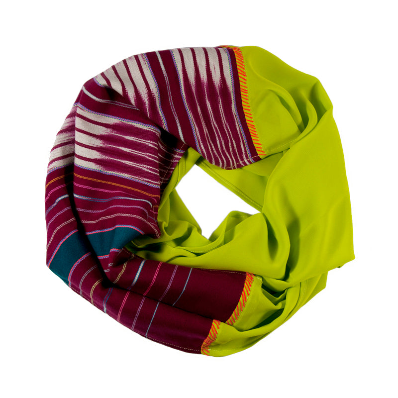 Karen Chiffon Infinity Scarf in Chartreuse / Burgundy