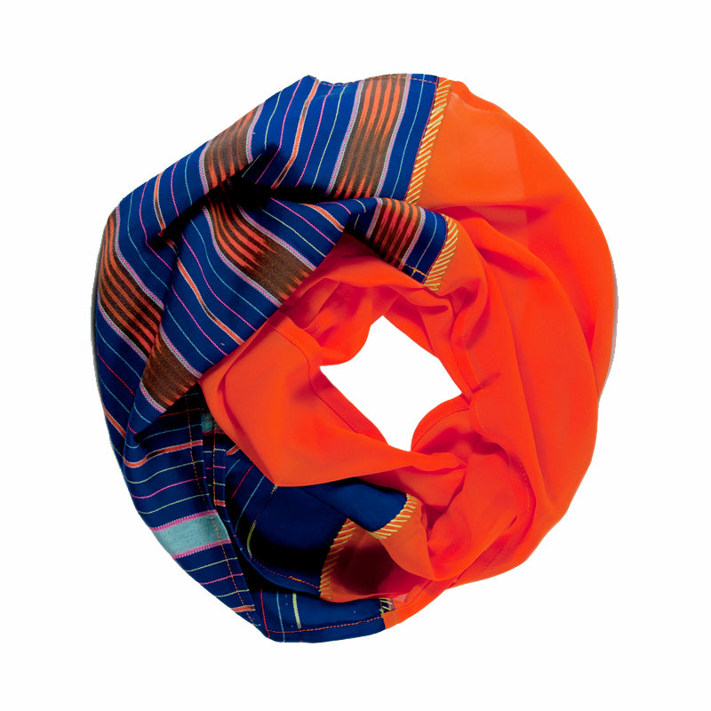 Karen Chiffon Infinity Scarf in Violet / Orange
