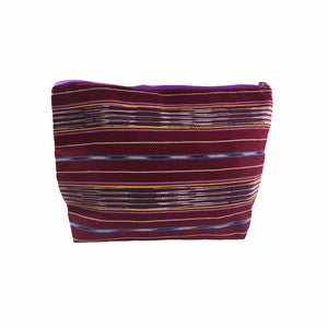 Karen Handwoven Make Up Bag in Burgundy