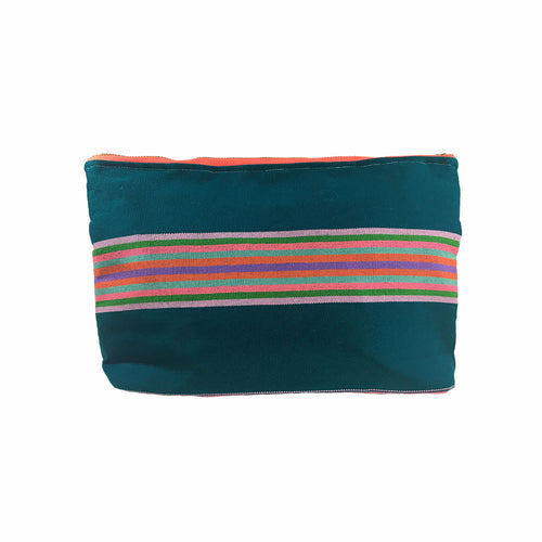 Karen Handwoven Make Up Bag in Teal