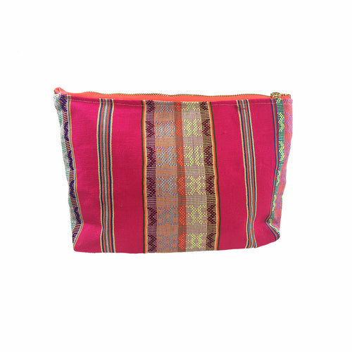 Karen Handwoven Make Up Bag in Magenta Multi