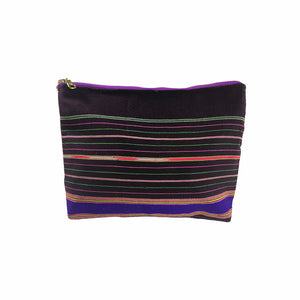 Karen Handwoven Make Up Bag in Eggplant