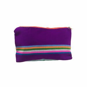 Karen Handwoven Make Up Bag in Plum