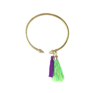 Kayan Brass Tassel Bangle in Neon Lime and Purple