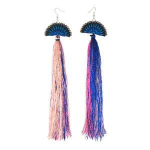 Dramatic Fringe Earrings in Cotton Candy
