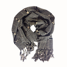 Load image into Gallery viewer, Karen Hand-Woven Scarf in Beige and Black