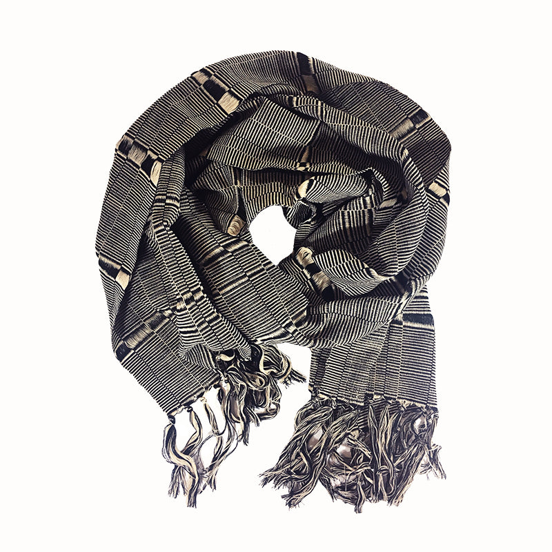 Karen Hand-Woven Scarf in Beige and Black