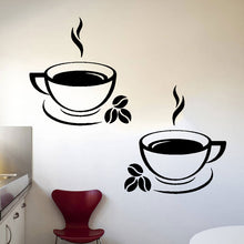 Load image into Gallery viewer, Set of 2 Coffee Cups Wall Stickers for Kitchens, Cafés, Restaurants etc (Design 2)