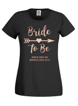 Load image into Gallery viewer, Bride To Be Personalised Hen Do / Hen Party T-Shirt