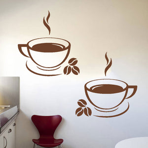 Set of 2 Coffee Cups Wall Stickers for Kitchens, Cafés, Restaurants etc (Design 2)