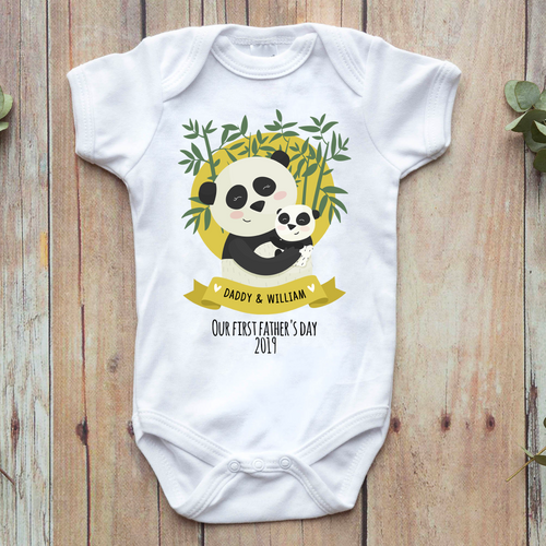 Our First Fathers Day 2019 Personalised Panda Themed Baby Vest