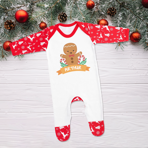 Personalised Christmas Gingerbread Sleepsuit Romper (Pre-order Price)