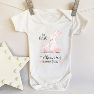Our First Mothers Day 2019 Personalised Rabbit Themed Baby Vest