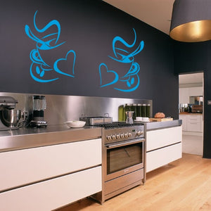 Set of 2 Coffee Cups Wall Stickers for Kitchens, Cafés, Restaurants etc (Design 1)