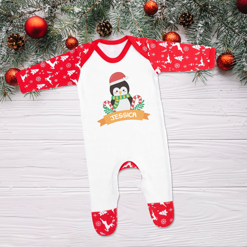Personalised Christmas Penguin Sleepsuit Romper (Pre-order Price)