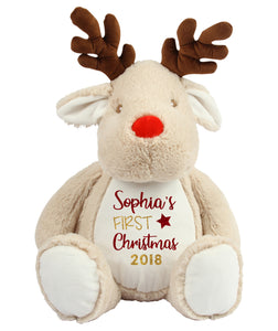 Large personalised first christmas reindeer plush