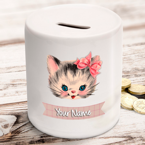 Personalised Cat / Kitten Ceramic Money Box