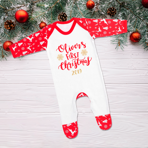 Babys First Christmas Sleepsuit Romper (Pre-order Price)