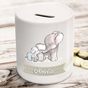 Personalised Baby Elephant Ceramic Money Box
