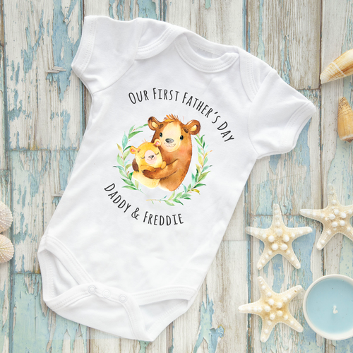 Our First Fathers Day Personalised Bear Themed Baby Vest