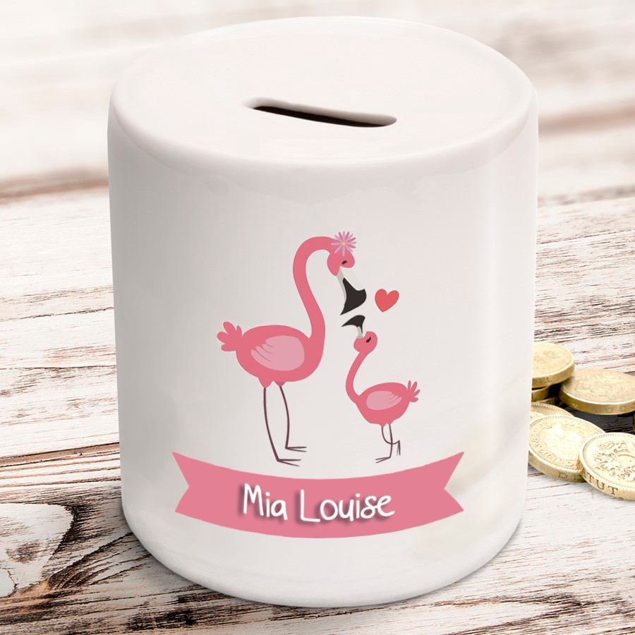 Personalised Flamingo Ceramic Money Box