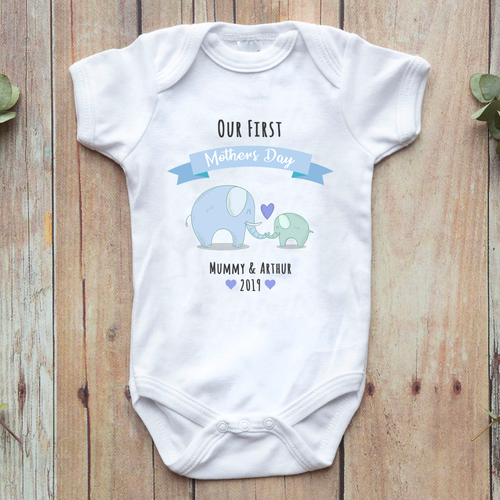 Personalised first mothers day elephant baby vest