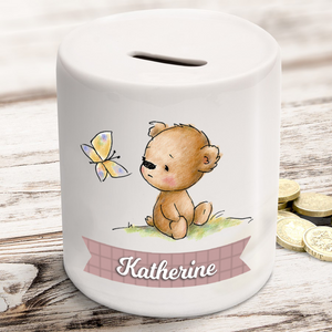 Personalised Teddy Bear Ceramic Money Box