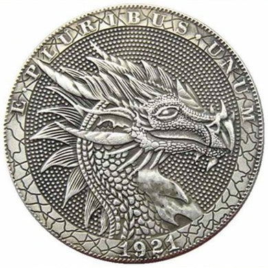 1921 The Dragon Silver Coin - SculpturalArt