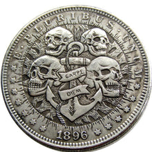Load image into Gallery viewer, 1896 The Skeletons Brotherhood Silver Coin - SculpturalArt