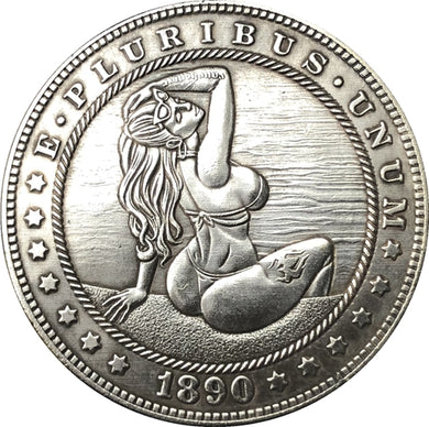 1890 Pretty Woman Silver Coin - SculpturalArt