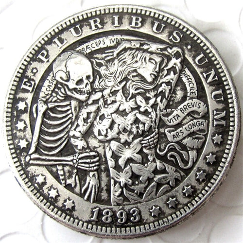 1893 Dancing With The Death Silver Coin - SculpturalArt