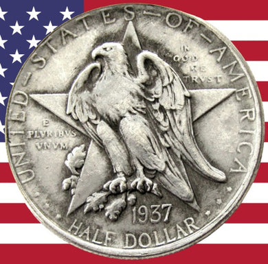 1937 Texas Independence Half Dollar Silver Coin - SculpturalArt