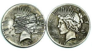 1922 The Scratched Two Faces Silver Coin - SculpturalArt