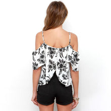Load image into Gallery viewer, Off Shoulder Open Back Floral Spaghetti Strap Shirt