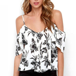 Off Shoulder Open Back Floral Spaghetti Strap Shirt