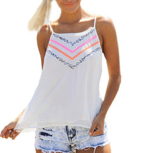 Load image into Gallery viewer, White Spaghetti Strap Pink and Orange Stripe Tank Top