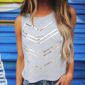 Gray Geometric Shiny Arrow Print Cotton Sleeveless Shirt