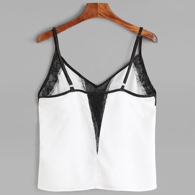 White Spaghetti Strap Crop Top Black Lace