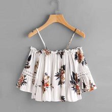 Load image into Gallery viewer, Tropical Flowers Summer Off-Shoulder Spaghetti Strap Crop Top