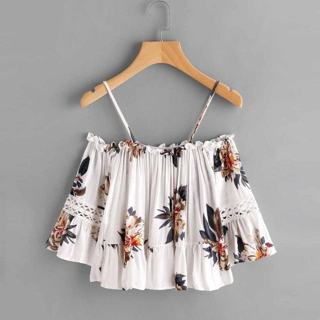 Tropical Flowers Summer Off-Shoulder Spaghetti Strap Crop Top