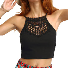 Load image into Gallery viewer, Sexy Coachella Style Sleeveless Spaghetti Strap Black Crop Top
