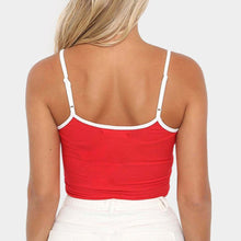 Load image into Gallery viewer, Bright Red Sexy Spaghetti Strap Ribbed Cotton Crop Top