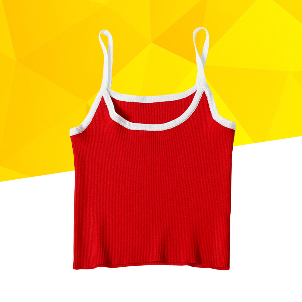 Bright Red Sexy Spaghetti Strap Ribbed Cotton Crop Top