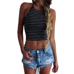 Sexy Stripe Print Sleeveless Halterneck Tank Crop Top