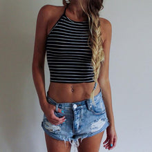Load image into Gallery viewer, Sexy Stripe Print Sleeveless Halterneck Tank Crop Top