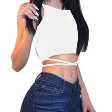Load image into Gallery viewer, Bandaged Waist Criss Cross Back Sleeveless Crop Top