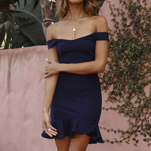 Off Shoulder Sleeve Dress in Black or Navy