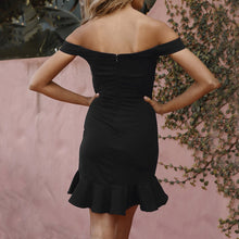 Load image into Gallery viewer, Off Shoulder Sleeve Dress in Black or Navy