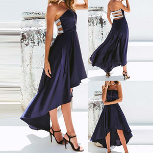 Silver Strapped Back Navy Blue Long Dress
