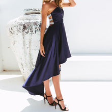 Load image into Gallery viewer, Silver Strapped Back Navy Blue Long Dress